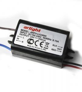 Блок питания для светодиодных лент 24-05 (24V, 5W, 0.2A, IP67)