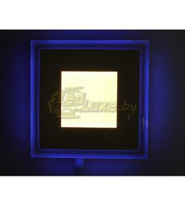 Светодиодная панель Синий Квадрат 6W: 130x130mm, (стекло) Артикул: 91107
